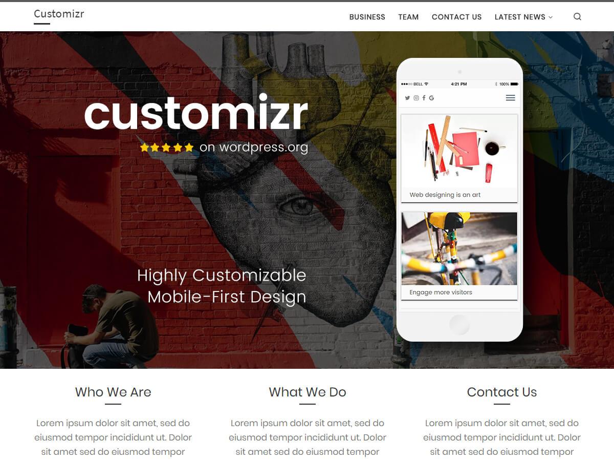 Customizr je čisté a přehledné téma