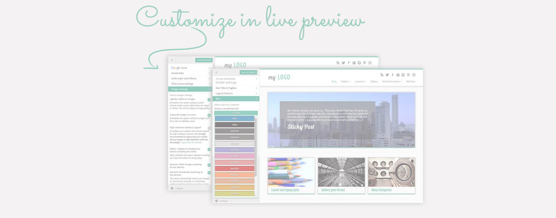 Hodně nastavení rozložení a vzhledů je přístupných přímo z Wordpress náhledové stránky: sledujte Vaše změny živě!